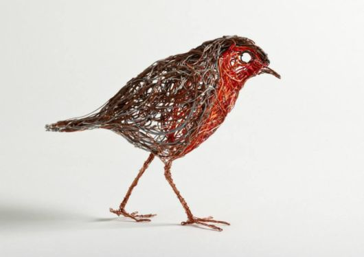Bird Sculptures Made Out Of Telephone Wire
