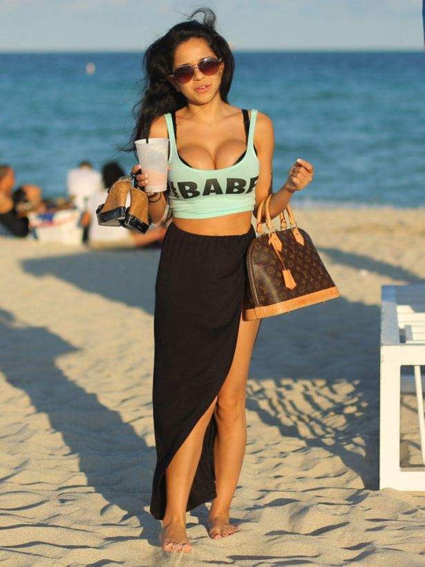 Melissa Ceja And Bella DoubleD At Miami Beach